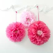 Pompoms fleurs papier rose