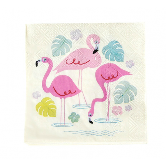 Serviettes papier cocktail sweet flamant rose