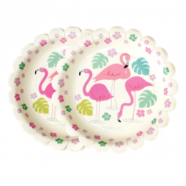 Assiettes feston flamant rose