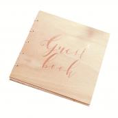 Livre d'or bois calligraphie or rose