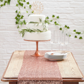 Chemin de table sequins or rose