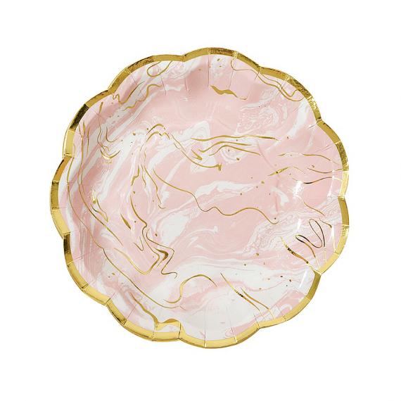 Assiettes gâteaux marbré rose
