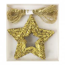 Guirlande étoiles paillettes or