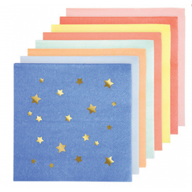 Serviettes papier cocktail étoiles or color mix