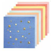 Serviettes papier cocktail étoiles or color mix