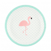 Assiettes star flamant rose
