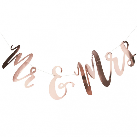 Guirlande calligraphie botanic or rose Mr & Mrs