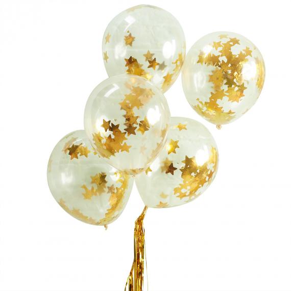 Ballons confettis étoiles or