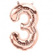 Ballon chiffre 3 or rose