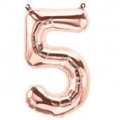 Ballon chiffre 5 or rose