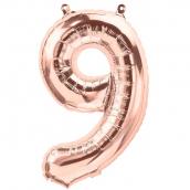 Ballon chiffre 9 or rose