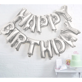 Guirlande ballons mylar argent Happy birthday