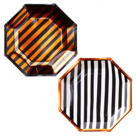 Assiettes mix rayures orange noir et blanc