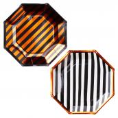 Assiettes mix rayures orange noir et blanc