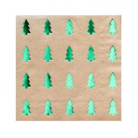 Serviettes papier kraft sapin métal vert
