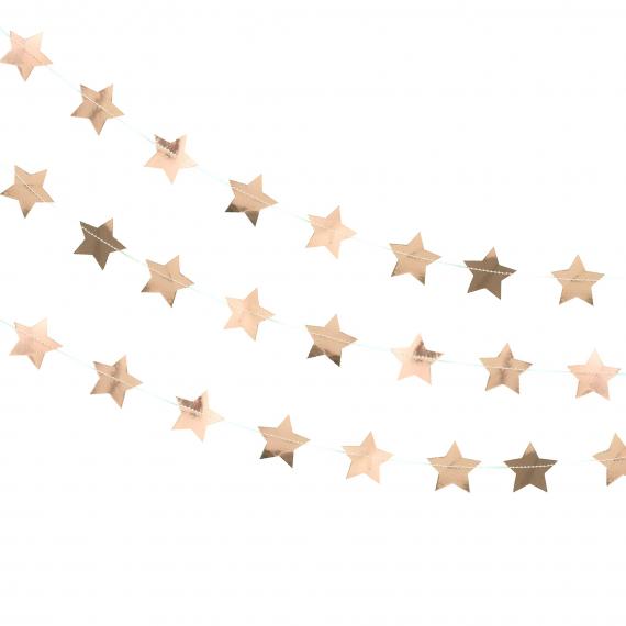 Guirlande étoiles or rose