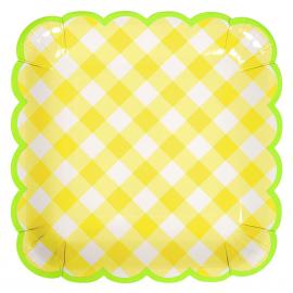 Grandes assiettes feston vichy jaunes