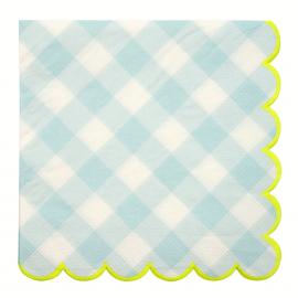Grandes serviettes vichy bleues