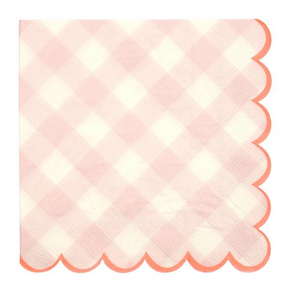 Grandes serviettes vichy roses