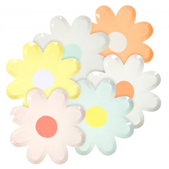 Assiettes forme fleurs couleurs