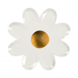 Assiettes forme fleurs blanches et or