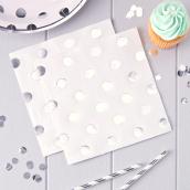 Serviettes papier blanches pois argent