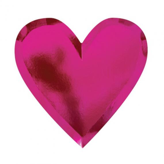 Assiettes coeur rose