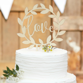 Rustic Country - Cake Topper - Wooden Love