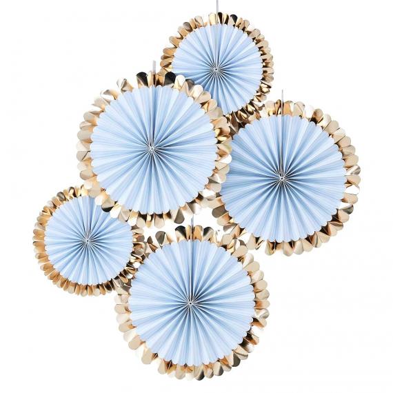 Rosaces bleu tendre filet or
