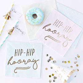 Serviettes papier pastel et or