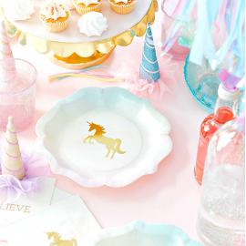 Gobelets pastel licorne or