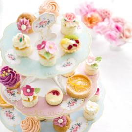 Cakestand fleurs chintz