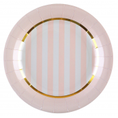 Assiettes rayures bord pois rose et or
