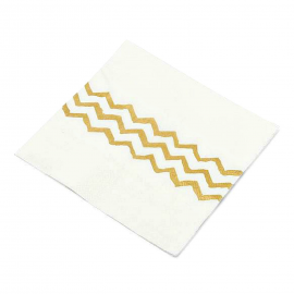 Serviettes papier blanches chevrons or