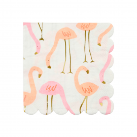 Serviettes flamant rose chic