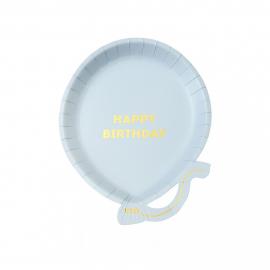 Assiettes anniversaire ballon bleu