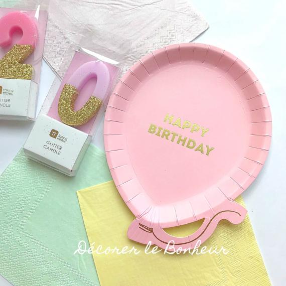 Assiettes anniversaire ballon rose