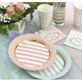Assiettes rayures bord pois menthe et or