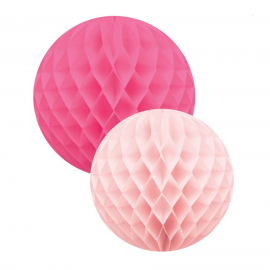 Boules papier alvéolé rose