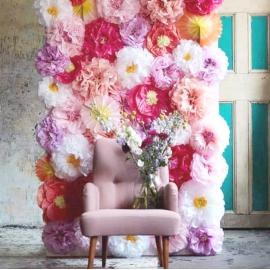 Pompoms fleurs papier pastel