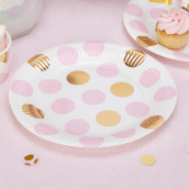 Assiettes pois rose et or