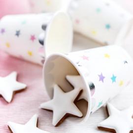 Gobelets étoiles pastel feston argent