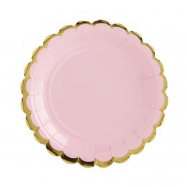 Assiettes gâteaux rose feston or