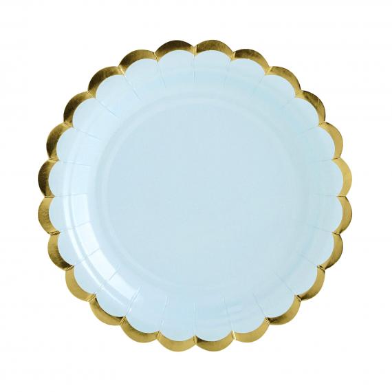 Assiettes gâteaux bleu feston or