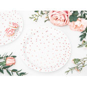 Assiettes blanches pois or rose