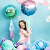 Ballon mylar iridescent bleu, vert