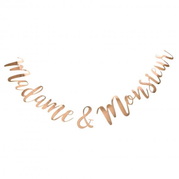 Guirlande Madame et monsieur or rose