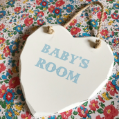 Pancarte Coeur baby's room bleu