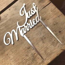Cake topper just married métal