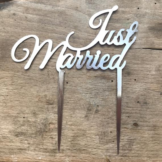 Cake topper just married métal